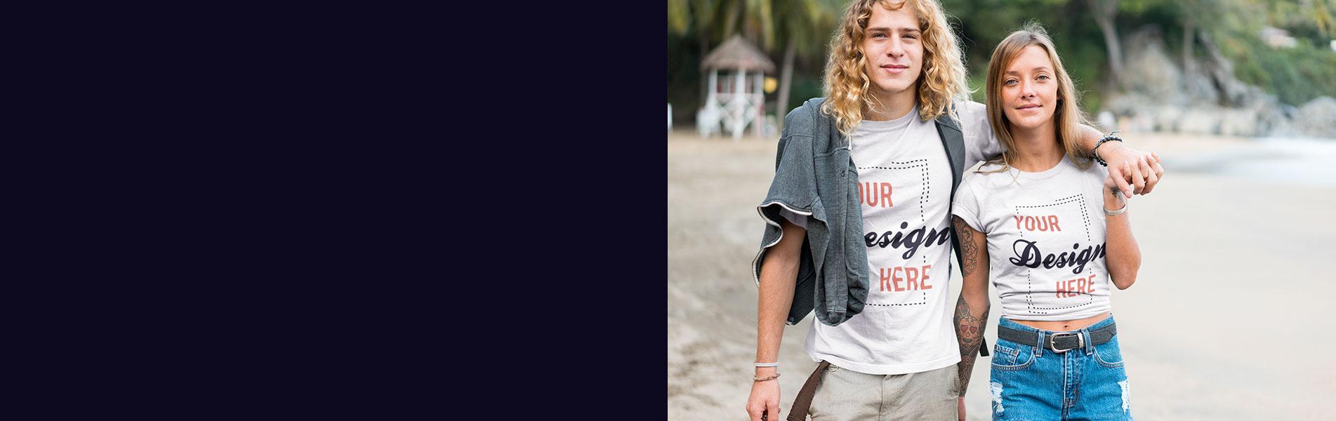 Junges surfer Paar mit weissen T-Shirts für den T-Shirt Druck